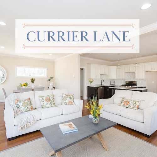 Living Room with Currier Lane Logo Overlaid>
