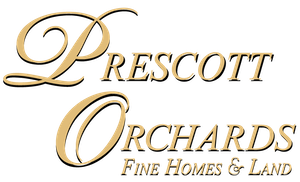 prescott orchards logo in gold script writing