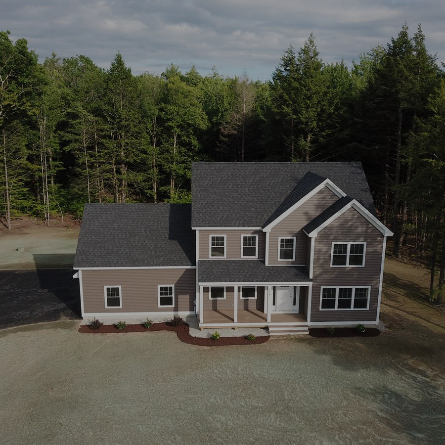 drone image of new home