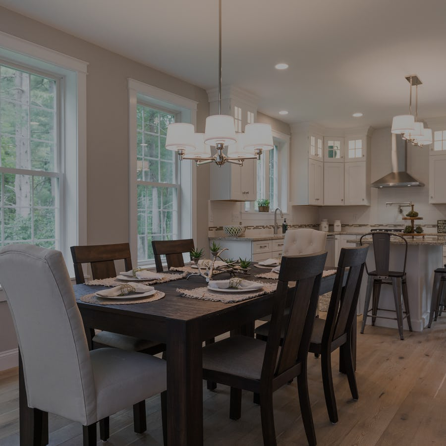 open concept kitchen and dining in new homw