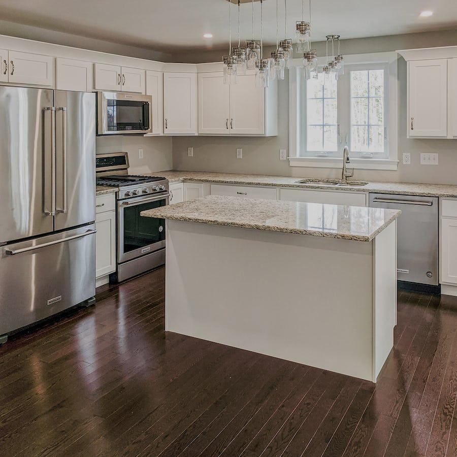 white kitchen in new home