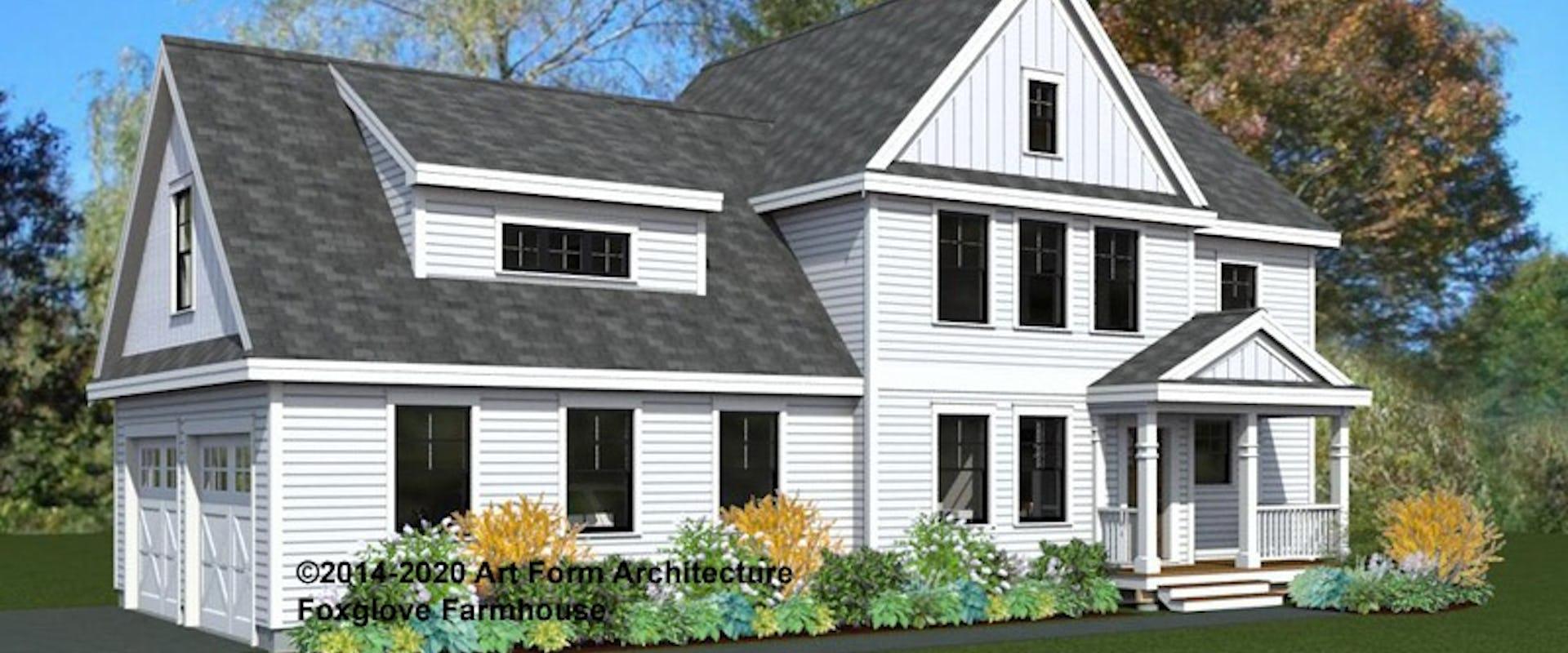 rendering of white foxglove farmhouse