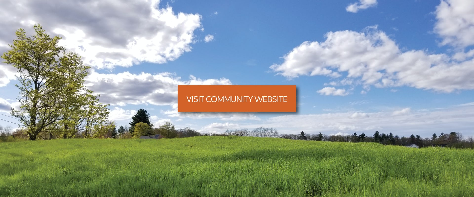 field in summer with visit community website button