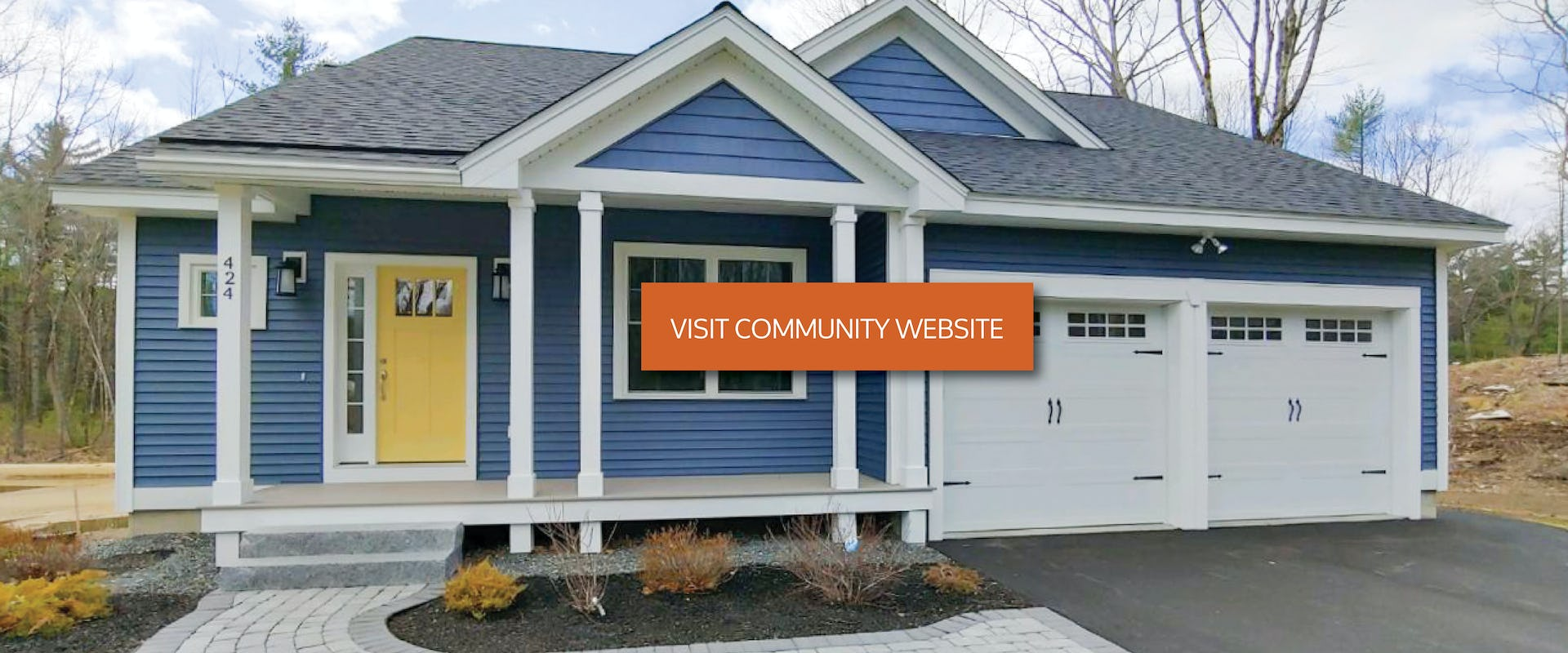 blue ranch style home with yellow door and button that reads visit community website