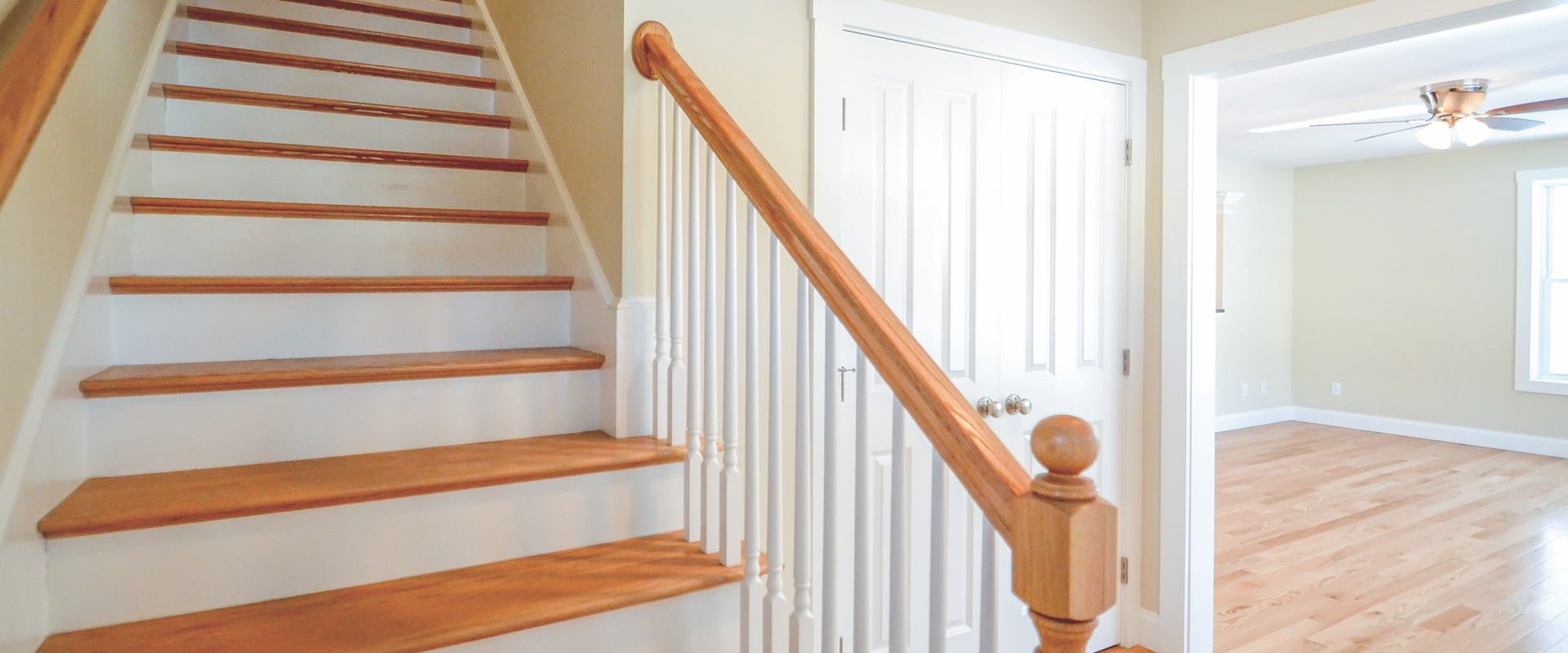 stairs in entry way to new home
