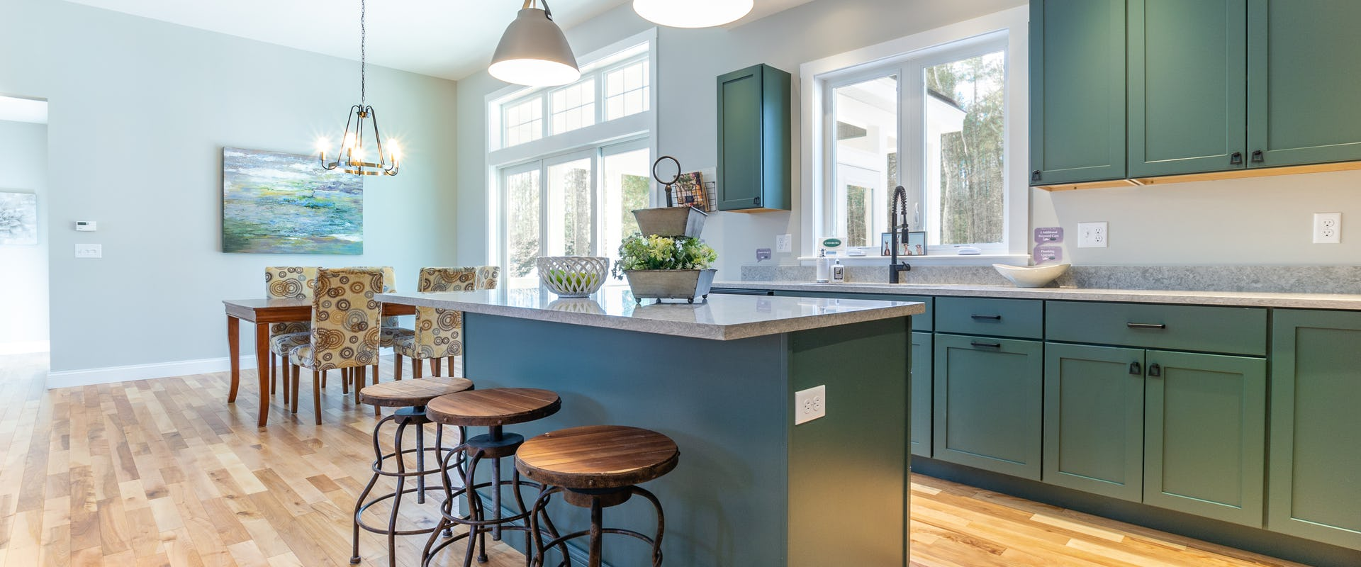 green kitchen cabinets in new home