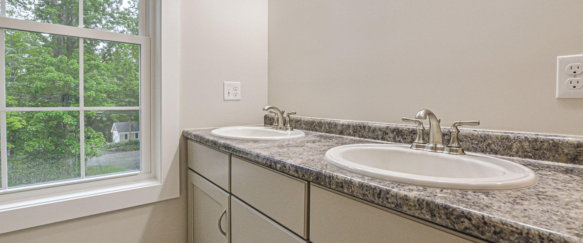 double sinks in new bathroom