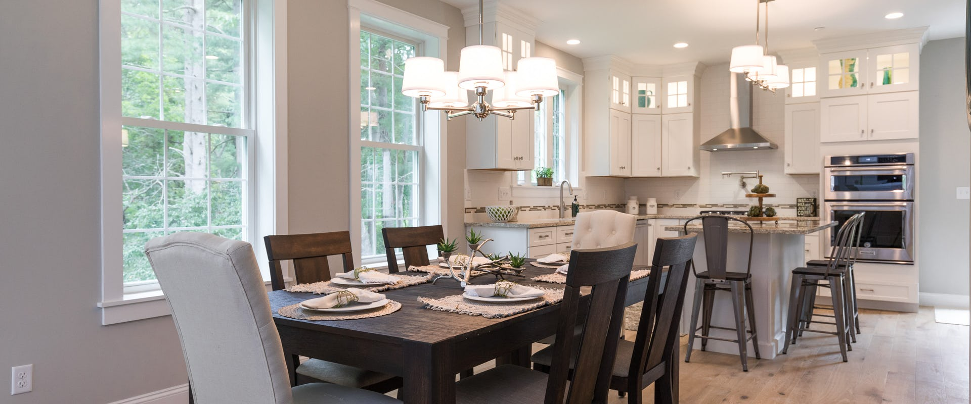 open concept kitchen and dining in new home