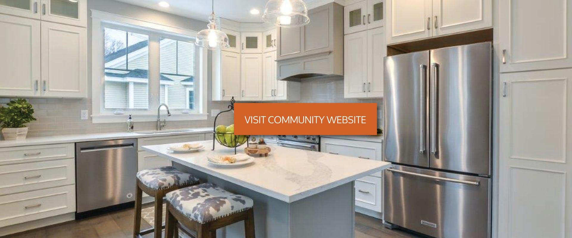 kitchen with visit community website button