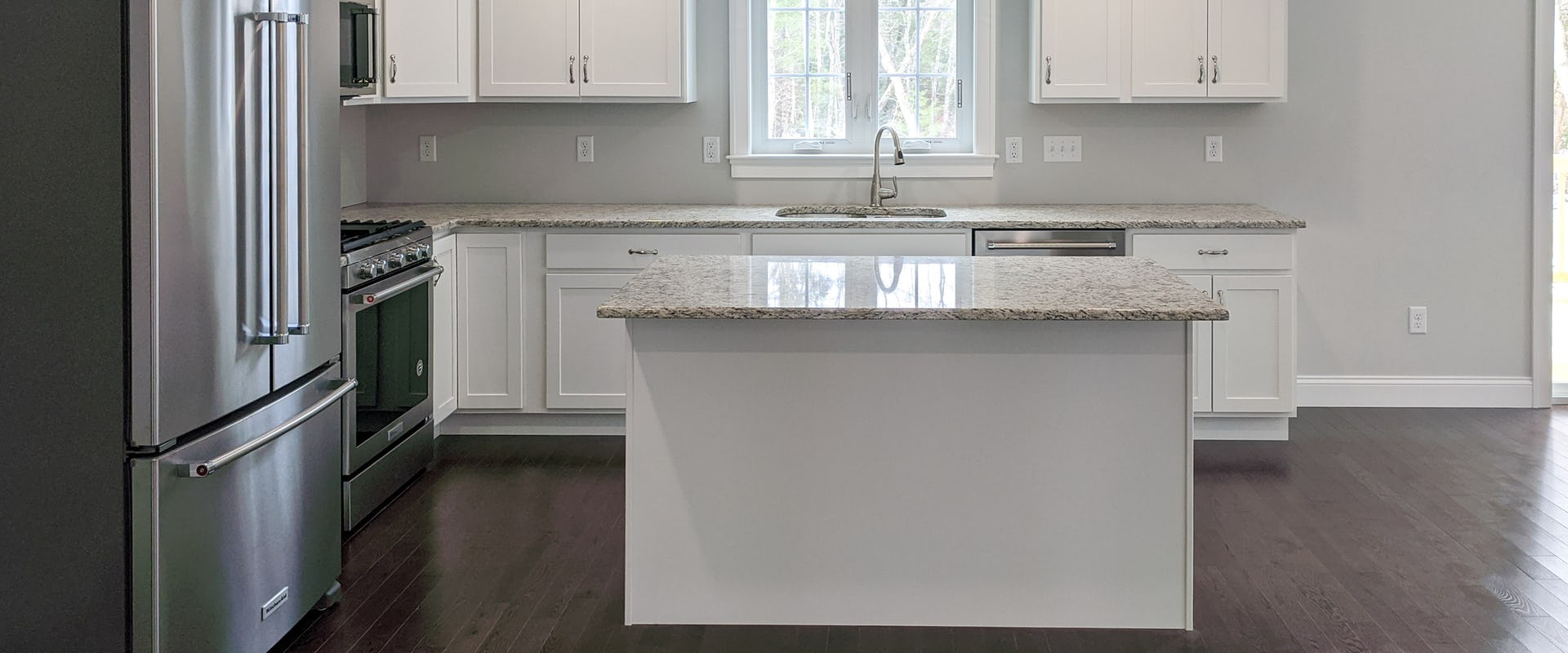 white kitchen island in new home