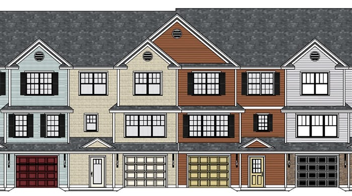Front of building with 4 townhome units